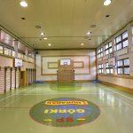 Sala sportowa z boiskiem do piłki ręcznaj. Na ścianach wiszą kosze do koszykówki