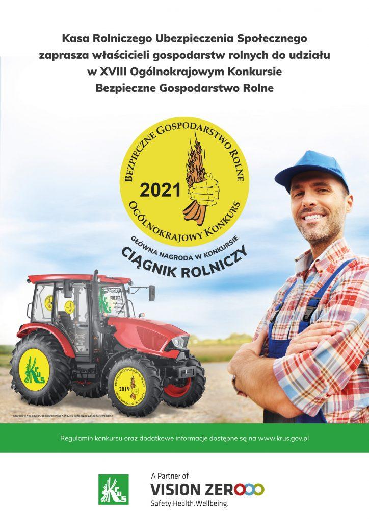 Plakat zapraszający rolników do udziału w Konkursie. Na środku traktor oraz z boki stoi mężczyzna ubrany na roboczo.