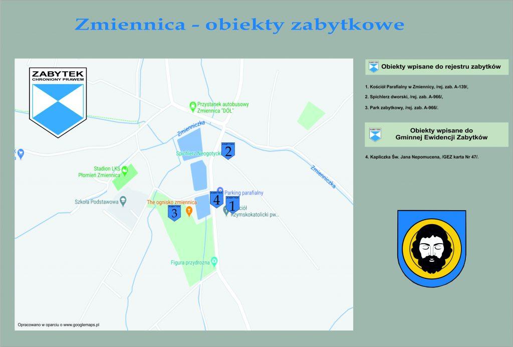 Grafika przedstawiająca mapę zabytków.