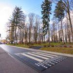 Nowo wyremontowana droga asfaltowa, na ulicy zrobiony przy szkole próg zwalanijący, po prawej stronie park.