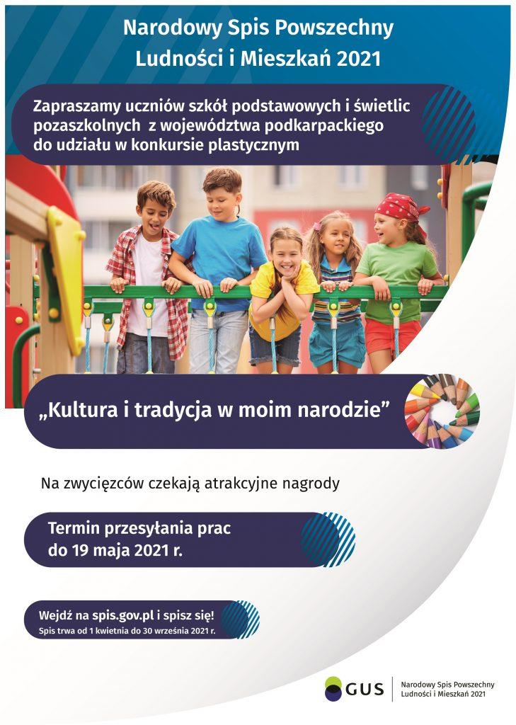 Plakat zachęcający do udziału w konkursie. Na środku grupa dzieci na placu zabaw.