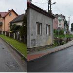 Porównanie dwóch zdjęć. Ulica asfaltowa przed remontem, dziurawa i po remoncie wyłożona nowym asfaltem.