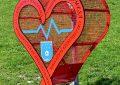 czerwone metalowe serce na nakrętki stoi na trawniku.
