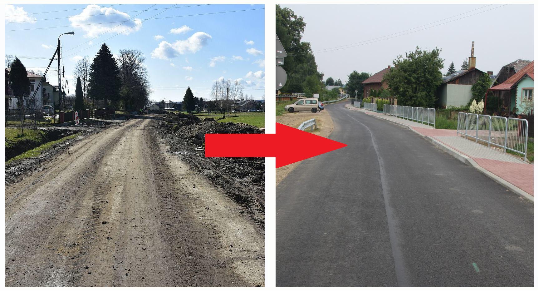 Obrazek przedstawiający drogę przed i po remoncie.